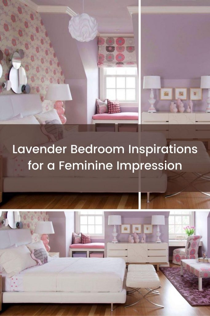 Lavender bedroom with floral pattern