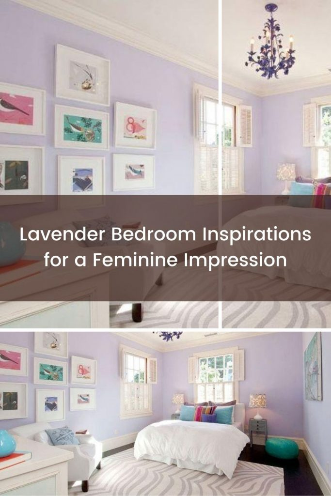 Lavender bedroom with wall decoration